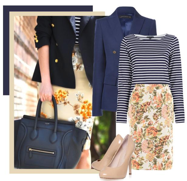blue navy blazer with floral skirt
