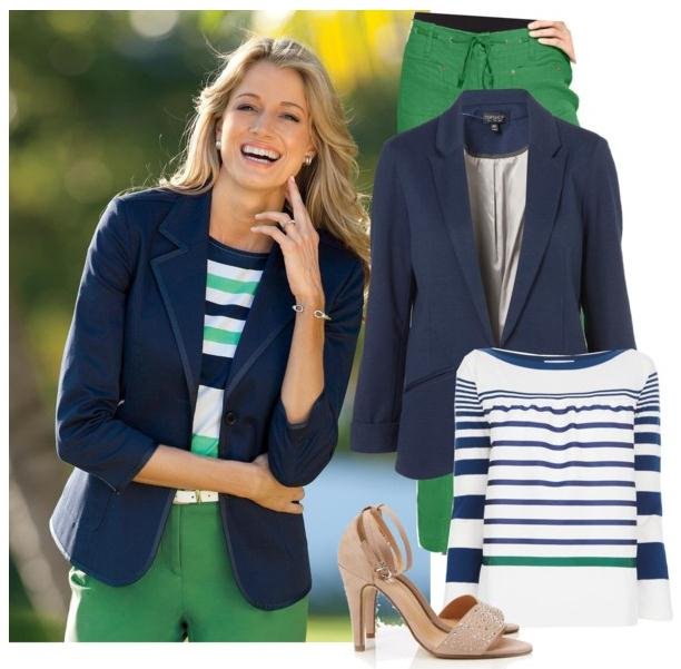 blue navy blazer with green pants