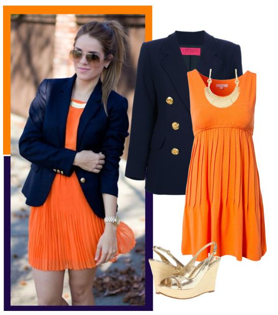 blue navy blazer with orange dress