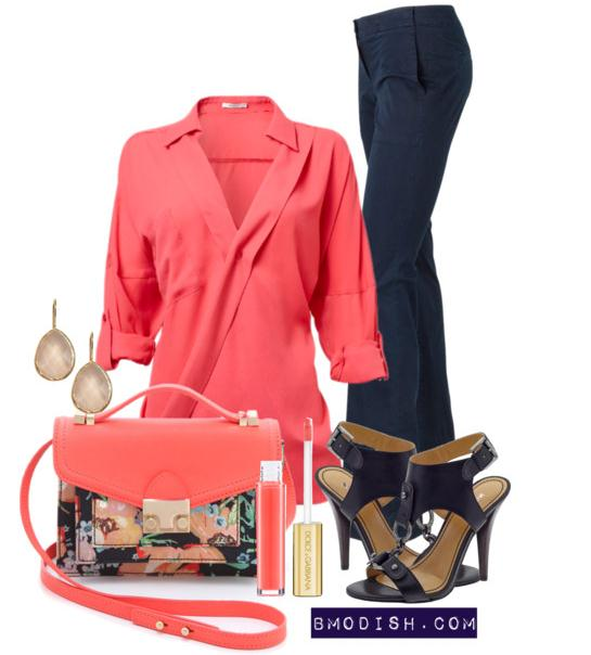 coral pink blouse