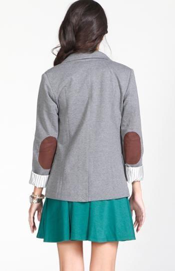 elbow patch blazer grey