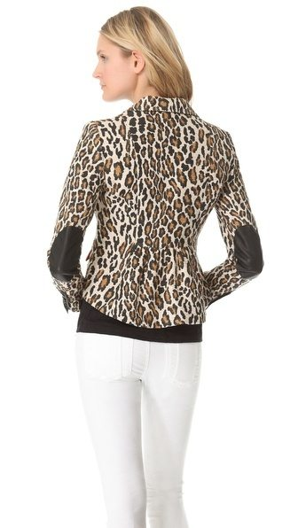 elbow patch blazer leopard