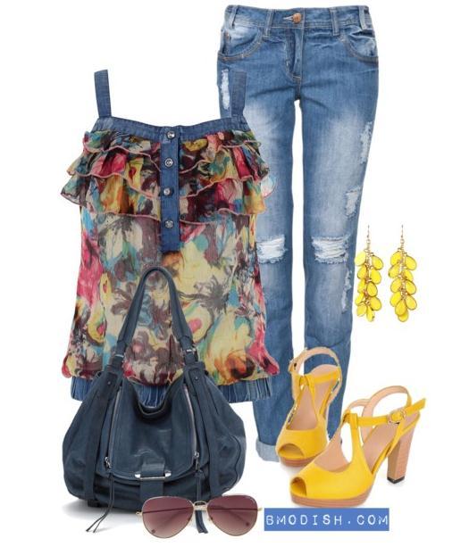 floral jeans top