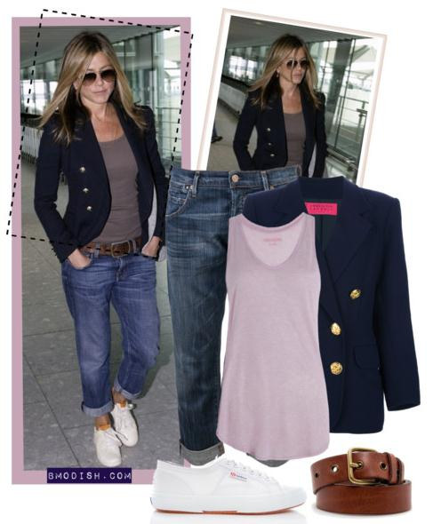 navy blue blazer jennifer aniston