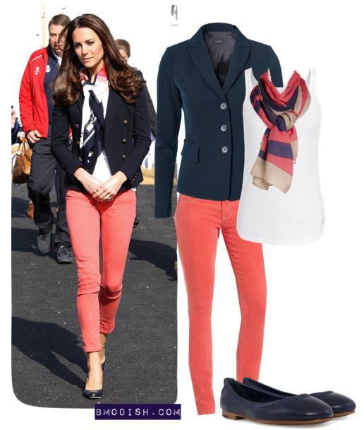 navy blue blazer with coral jeans