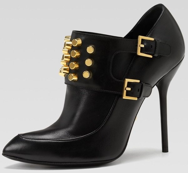 Gucci Studded High-Heel Ankle Booties