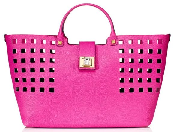 Juicy Couture Bright Perforated Leather Shopper Tote