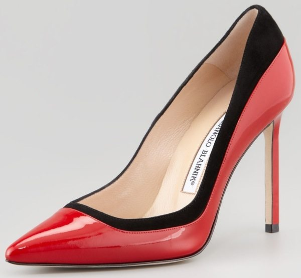 Manolo Blahnik Pretati Patent-and-Suede Pumps