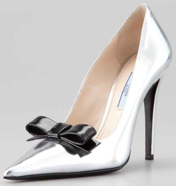 Prada Metallic Patent Bow Pumps