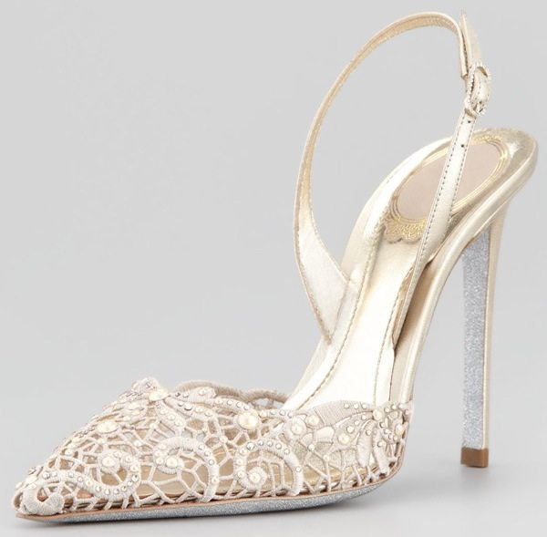 Rene Caovilla Embroidered Lace Pointy-Toe Halter Pumps