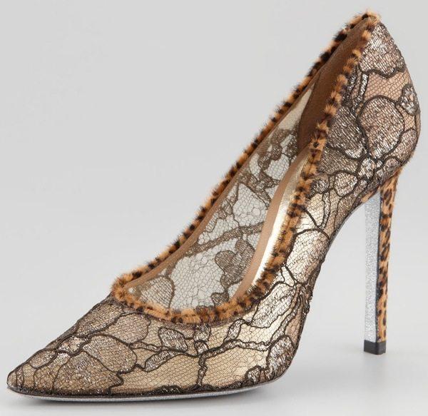 Rene Caovilla Leopard-Print Trimmed Lace Pumps