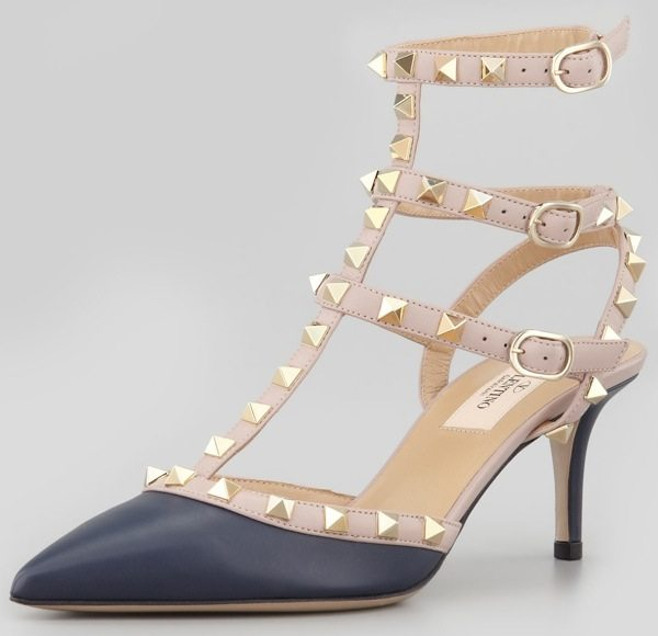 Valentino Rockstud Two-Tone Pointed-Toe Pumps