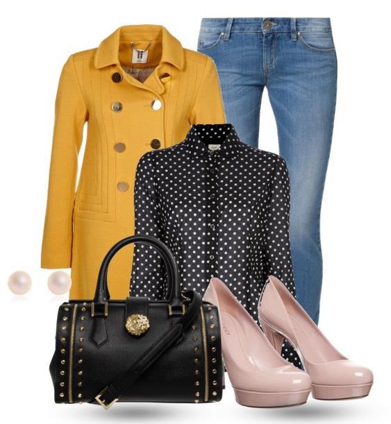 black polkadot blouse