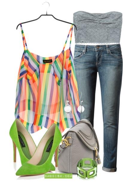 summer outfit rainbow top
