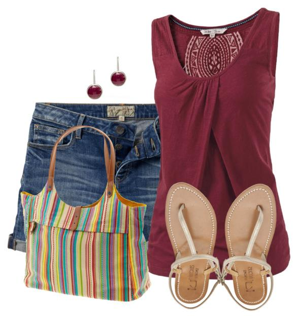 summer outfit with striped bag