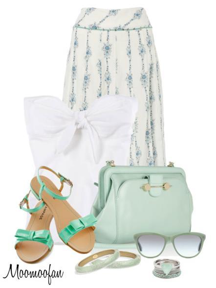 mint maxi skirt summer outfit