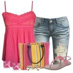 pink summer outfit with dash & Albert tote