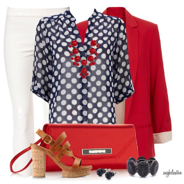 red and blue spring outfit