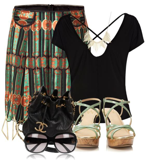 summer outfit printed skirt