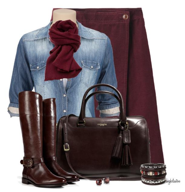 fall outfit with skirt