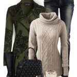 how to combine beige sweater with olive green coat