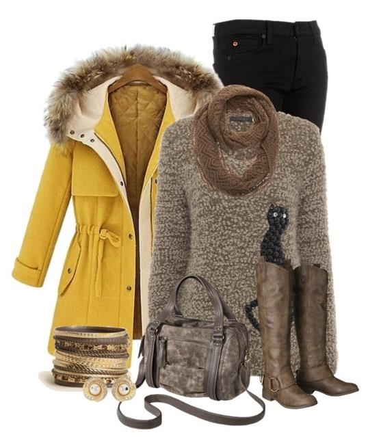 how to wear yellow winter coat