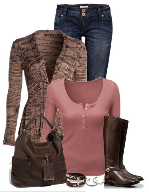 brown boots polyvore outfit