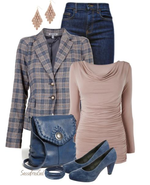 cute denim and plaid outfit