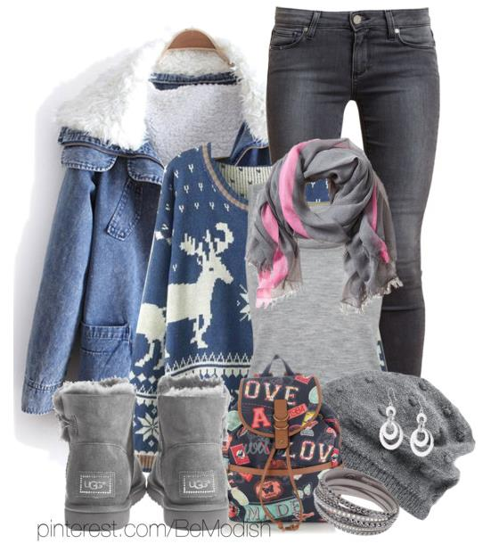Back To School Winter Outfits With Denim Jacket