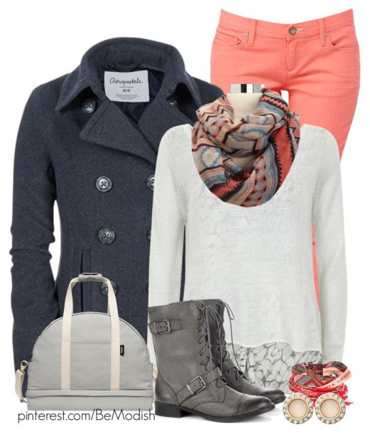 Casual Fall Winter Outfit With Bright Color Jeans