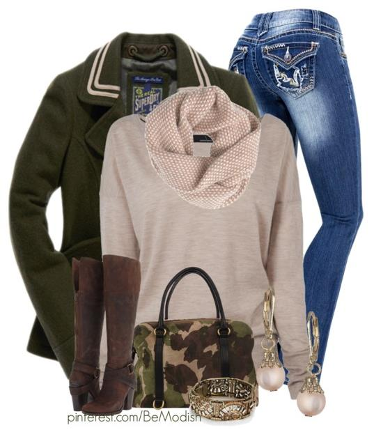 Casual Fall Winter Outfit With Superdry Avenger Pea Coat
