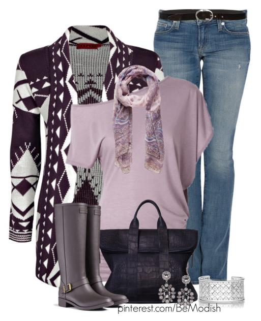 Comfy Fall Outfits Idea With Purple Aztec Cardigan