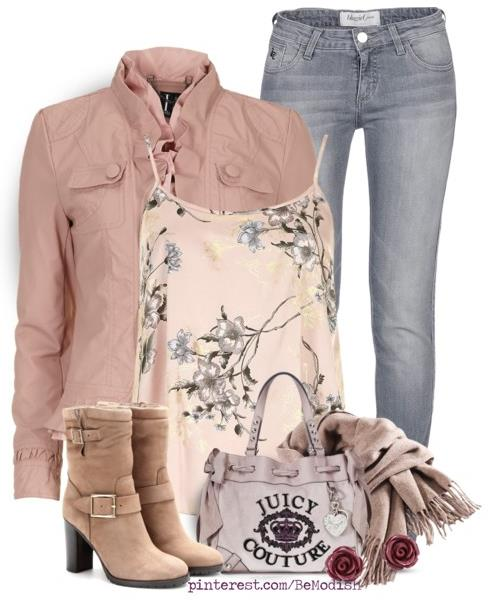 fall outfit with beige leather jacket