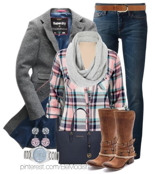 Quick Cute Winter Outfits with Plaid Shirt