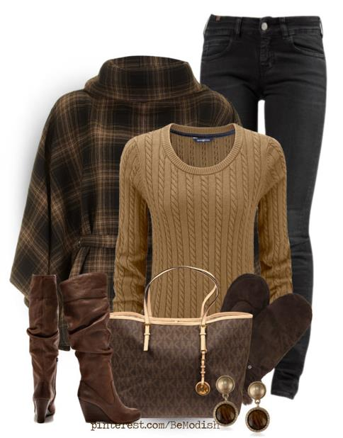 Winter Outfits For Women With Brown Cape