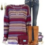 casual fall outfit with striped sweater