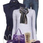 casual winter outfit with purple sorel joan of arctic boots
