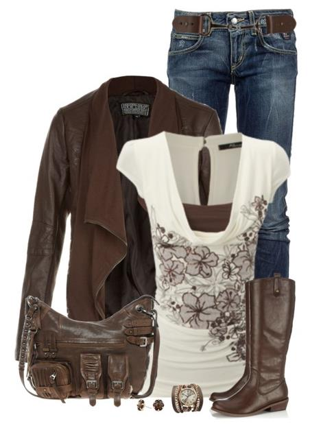 Brown Blouse Outfit 111