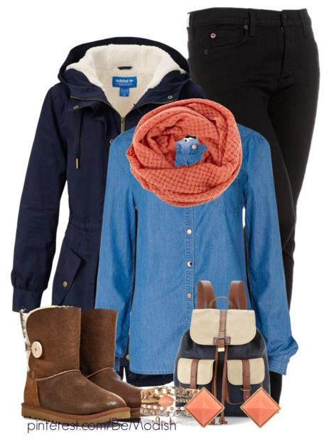 denim shirt winter outfit