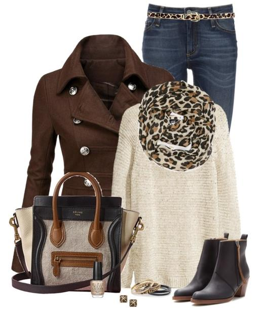fall winter outfit with pea coat jacket