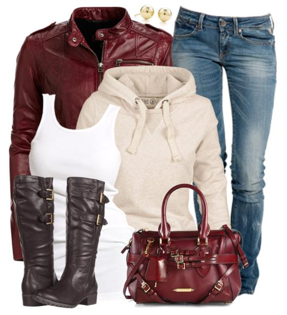 pretty winter outfit with burberry satchel