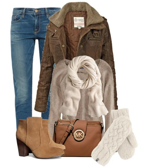 winter outfit with coat, scarf and mittens bmodish.com