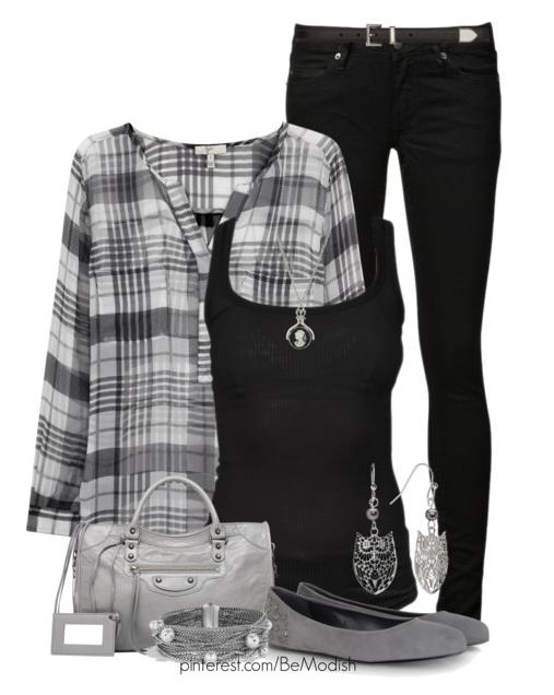 Monochrome Black and Grey Casual Outfit Idea