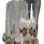 casual fall outfit with oversized aztec vest