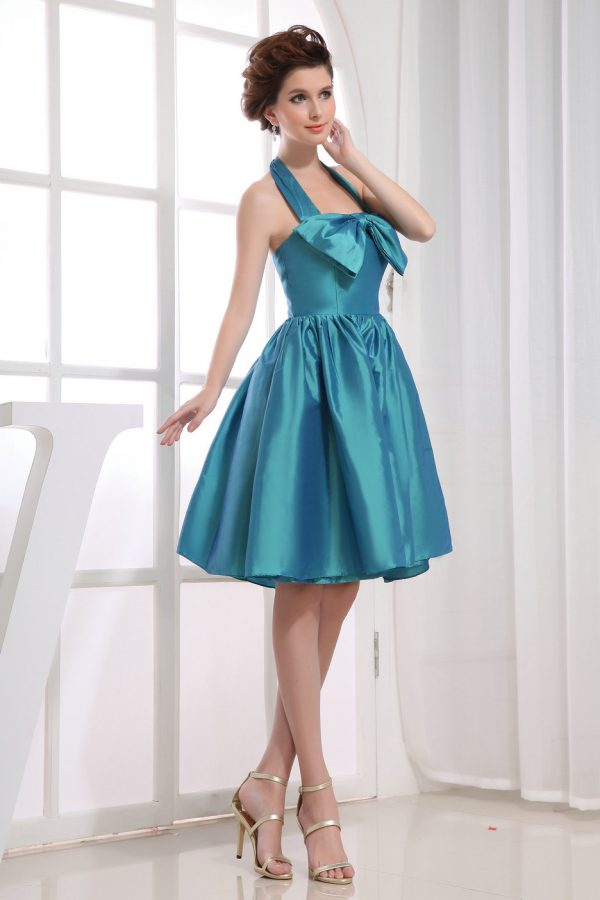 A Line Halter Navy Graduation Dresses with Bow