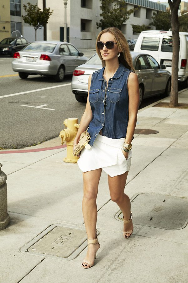 Catherine Wright on denim and white skirt