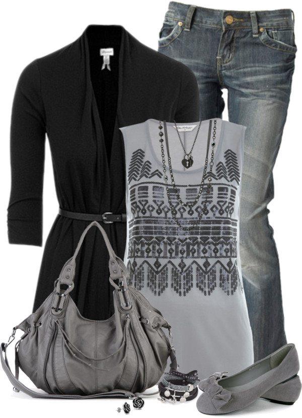 Grey with black cardigan