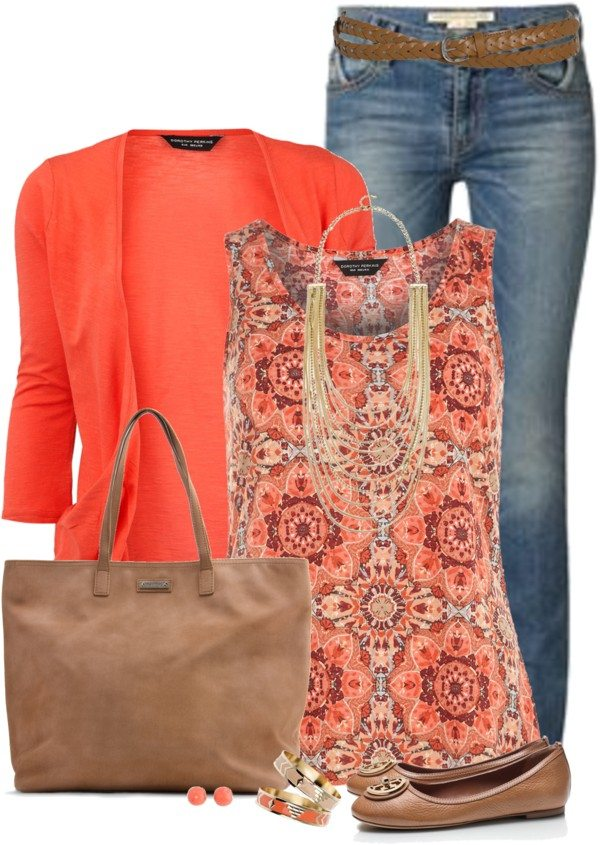 Orange cardigan with printed tank top