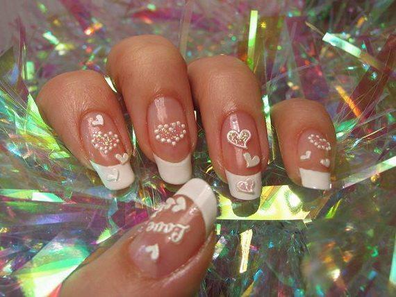 clear valentine nail art designs 2014