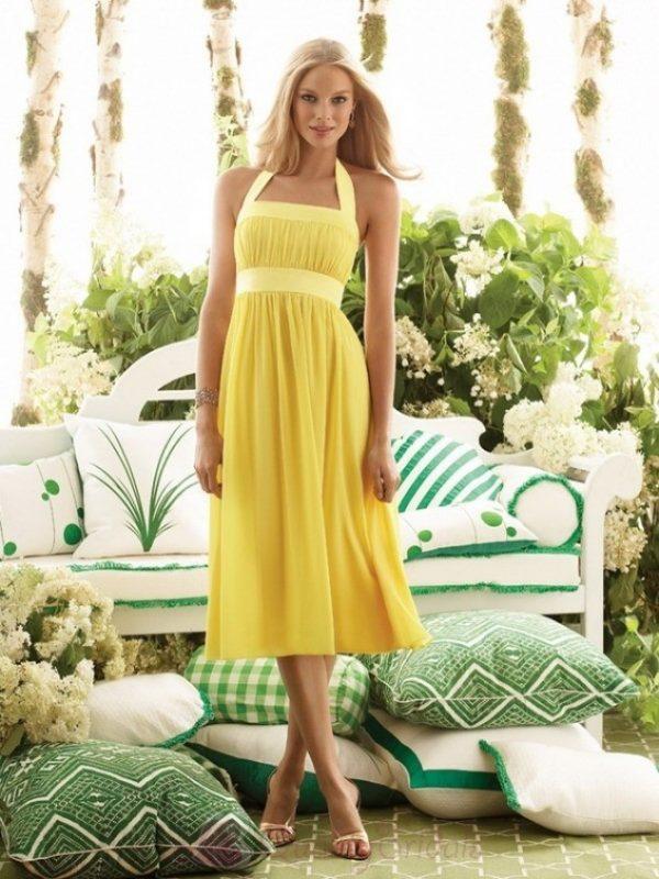 Yellow-Halter-top-Tea-length-Chiffon-Bridesmaid